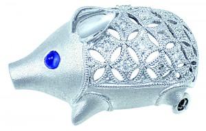 K18WG ダイヤモンド サファイア ブタ ブローチ