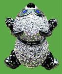 s-K18WG ダイヤモンド パンダ ブローチ