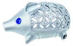 s-K18WG ダイヤモンド サファイア ブタ ブローチ